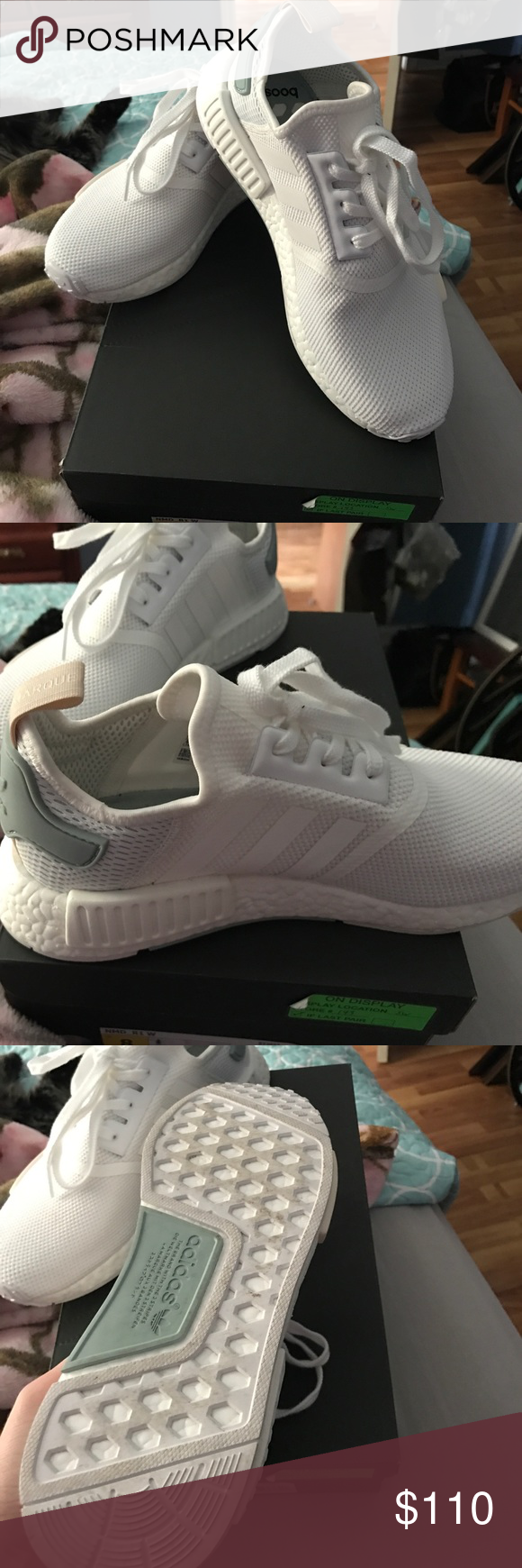 ec7c6121d Adidas NMD all white womens shoes NWT Adidas women NMD R1 all white womens  shoes.