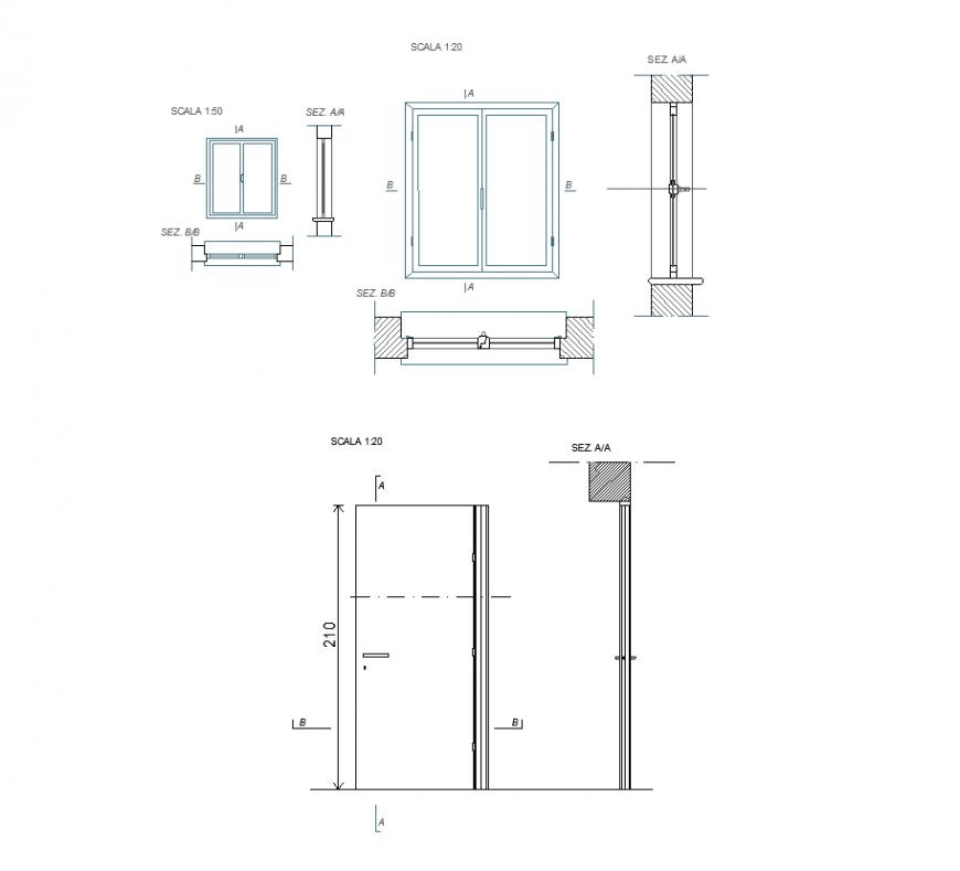 Different Size Door Plan And Sectional Detail Dwg File Door Plan Arched Doors Garage Door Design