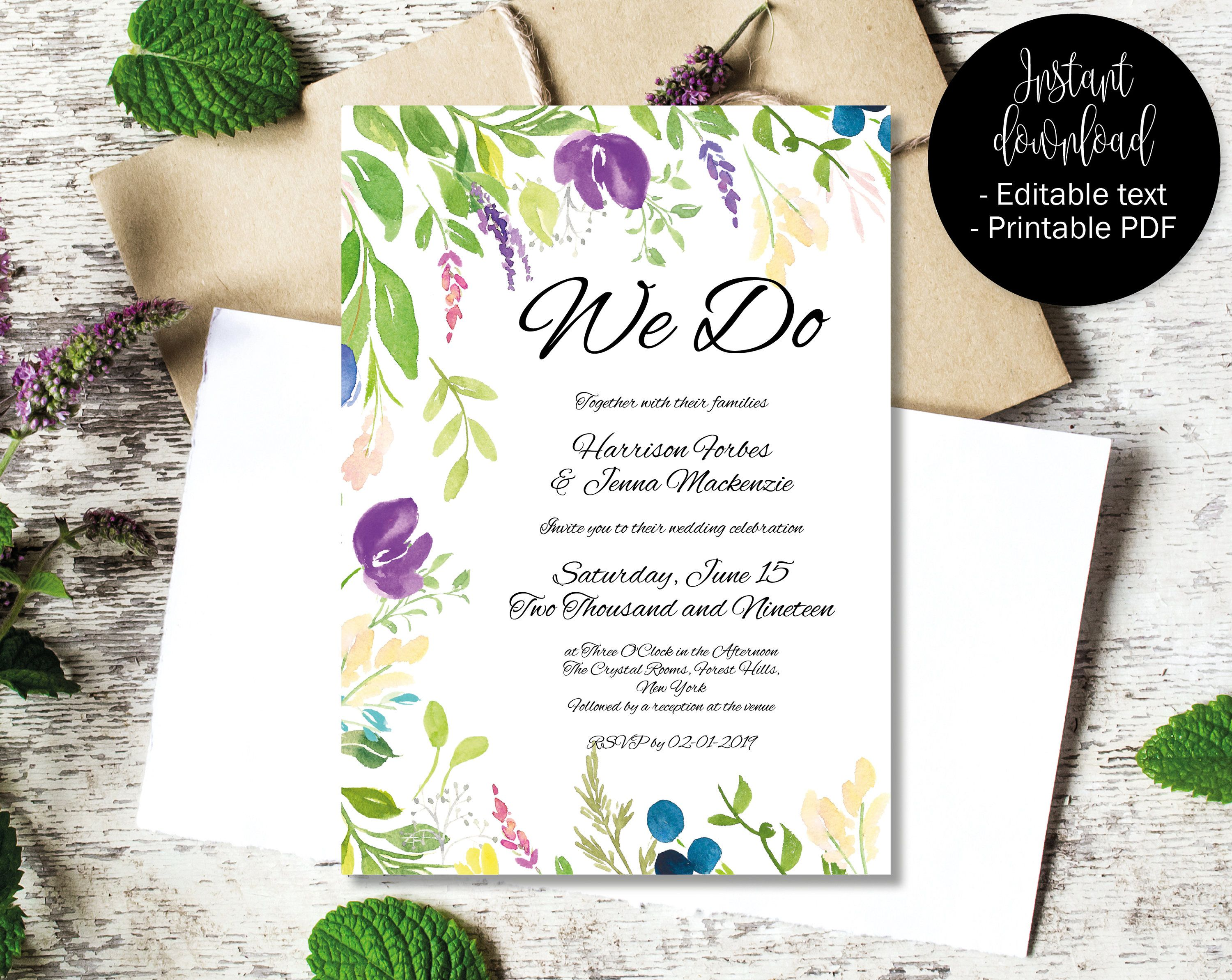 Diy Printable Wedding Invitation Template Editable Wedding Etsy Wedding Invitations Printable Templates Diy Printable Wedding Invitations Wedding Invitation Templates