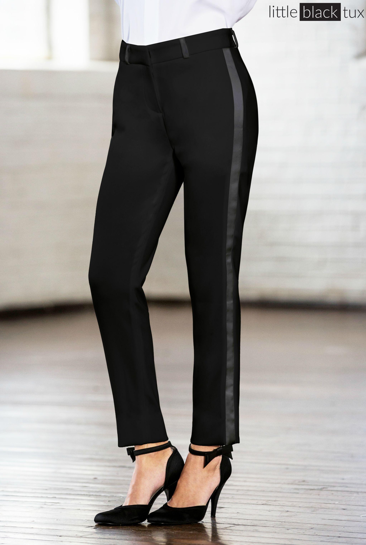 Women's Black Ultra Slim Tuxedo Pants / Ladytux. slim fit, belt loops, satin