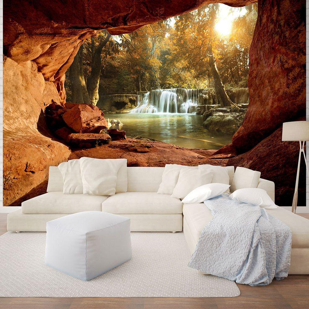 Fototapete 3d Effekt Wasserfall Wald Fels Hohle Wohnzimmer Ausblick Natur Tapete Ebay Fototapete Fototapete Wasserfall Wasserfall Tapete