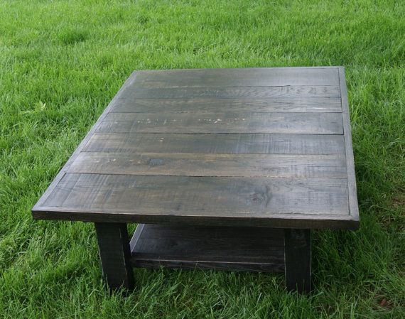 Reclaimed Rustic Coffee Table. Solid Wood With Ebony Stain. Distressed  Black Coffee Table.