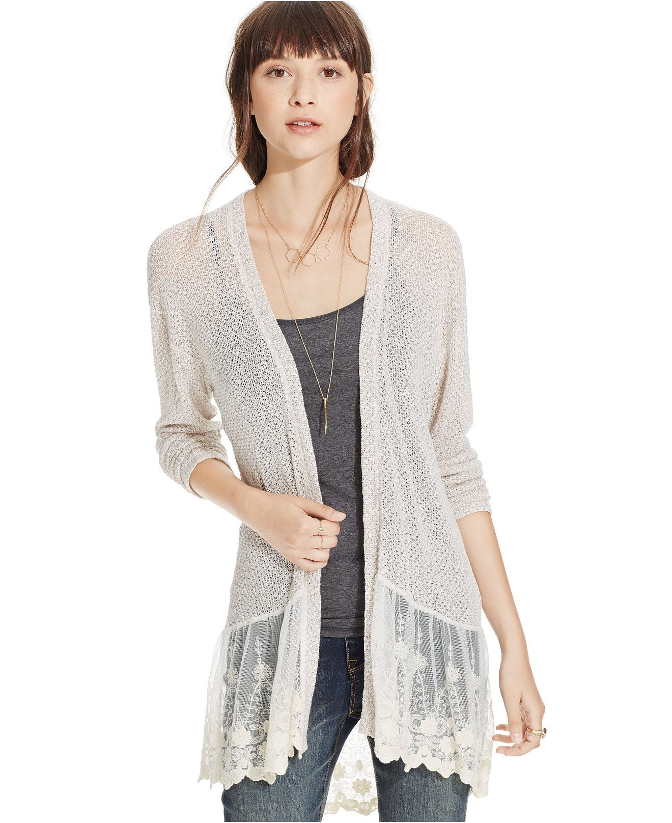 American Rag Lace-Trimmed Open-Knit Cardigan, Only at Macy's ...