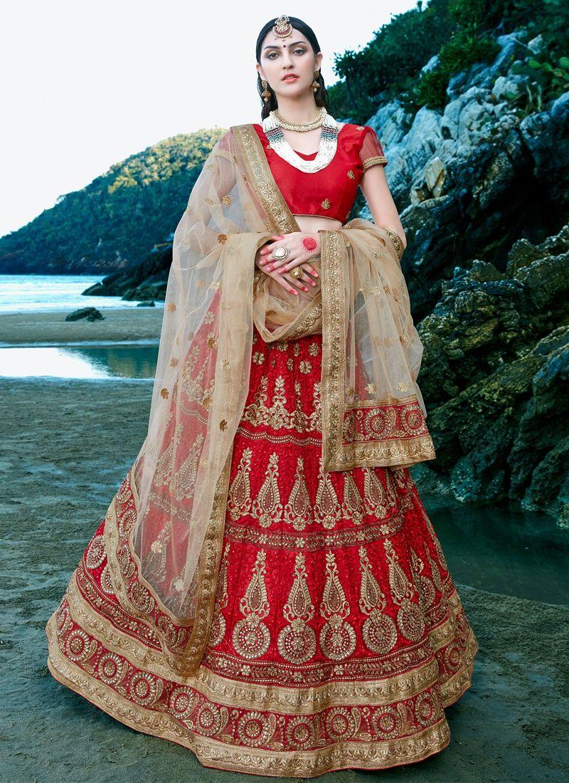 e1d7d5d529 Buy Red-net-embroidered-work-wedding-wear-lehenga-choli-404 through Online  Shopping from KollyBollyEthnics.com