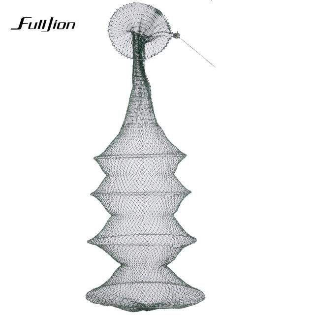 Fulljion Fishing Net Fish Trap Folding Round Metal Frame Nylon Mesh ...