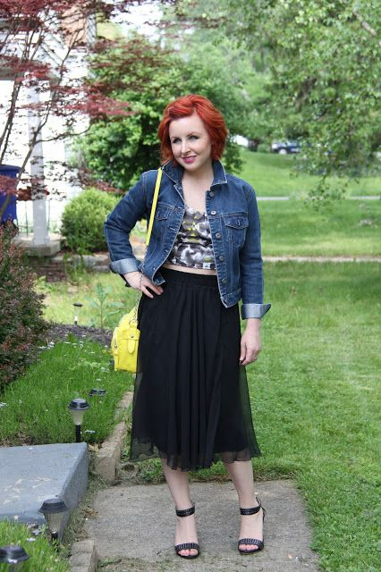 Thrift and Shout blog; crop top, Goodwill, vintage, cute outfit of the day, thrift, Target, ankle strap heels, red hair, fashion, Spring fashion