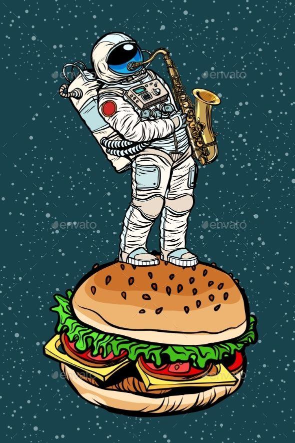 Astronaut Plays Saxophone on a Burger #retropop