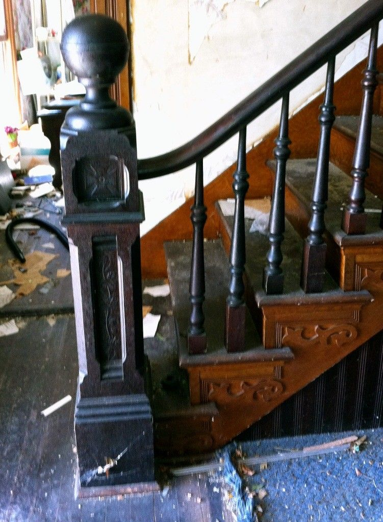 Great Complete Antique Staircase With Walnut Handrail, Large Newel Post    Preservation Station, Nashville, TN