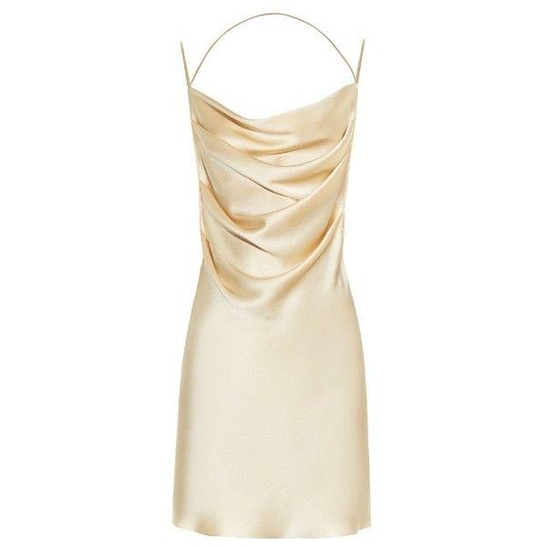 a86d82992758 Saint Laurent Drape-front open-back silk dress ($1,109) ❤ liked on Polyvore  featuring dresses, drape front dress, yves saint laurent, open back  dresses, ...