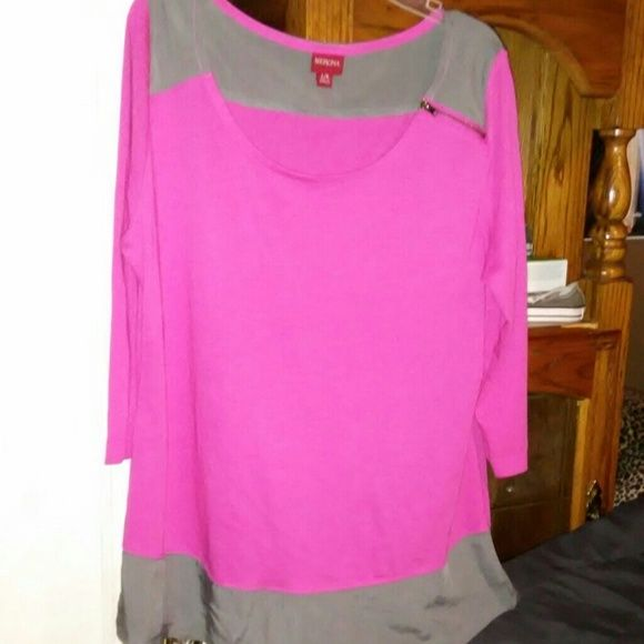 Nice pink and grey blouse Have a nice pink and grey blouse stretchy grey on top and on the bottom very classy zipper on the shoulder Merona Tops Blouses