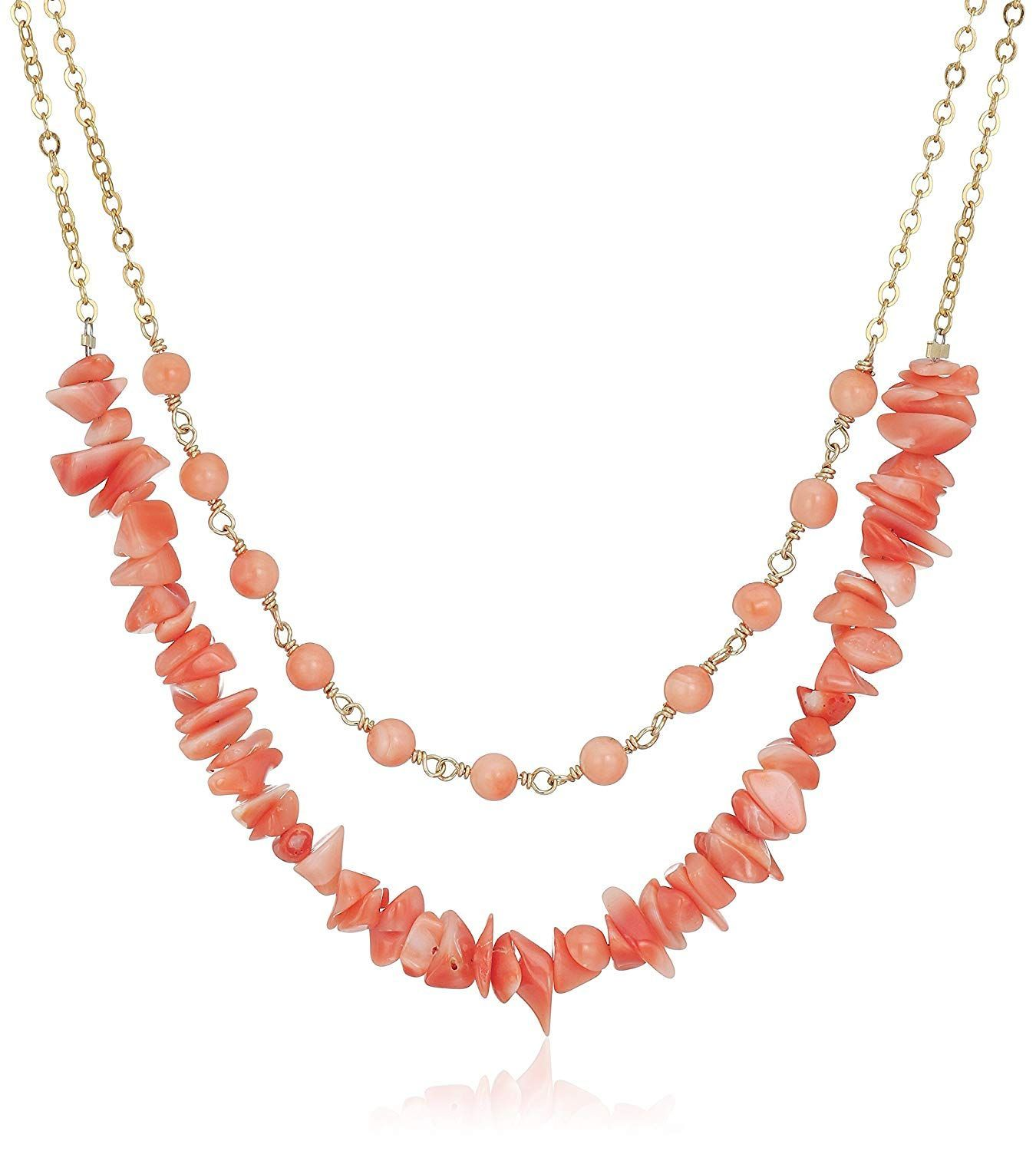 Photo of Beautiful Jewelry Bling Gold-Filleded Two Row Natural Pink Coral Round and Pink Coral Chips Chain Necklace, 16′-17′ — Hope you do enjoy our photo. (This is our affiliate link)