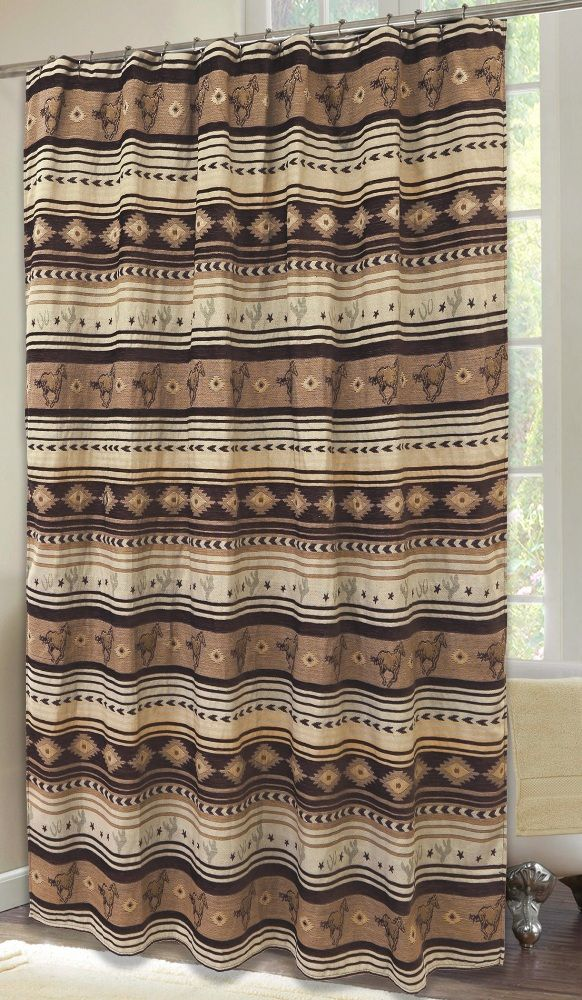 Brown Mustang Horses Chenille Fabric Shower Curtain | Horsing Around ...