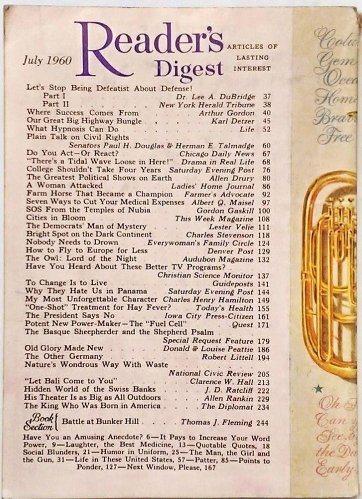 "JULY 1960 ""Reader's Digest"" - FEDERAL HIGHWAY - ASWAN DAM - PANAMA - SWISS BANKS"