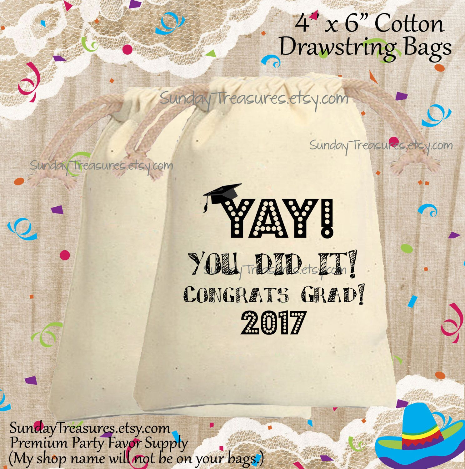ad43db80aa 5 Pak Graduation Yay You Did It / Cotton Muslin Drawstring Bag / 4x6 /  Teacher Class Kids / Personalized / 3 Day Ship by SundayTreasures on Etsy