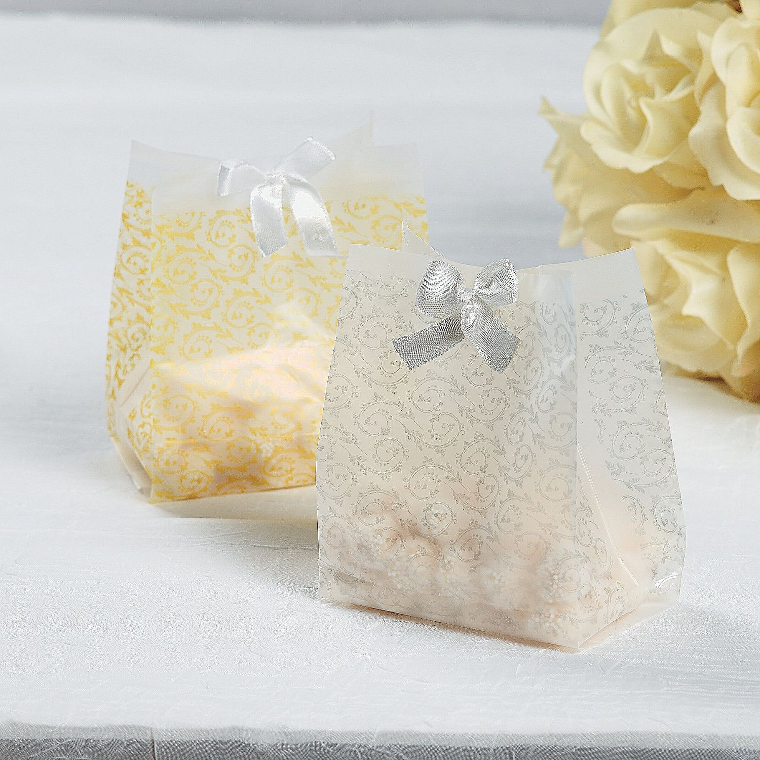 Frosted Gold Wedding Favor Cellophane Bags Gold Wedding Favors