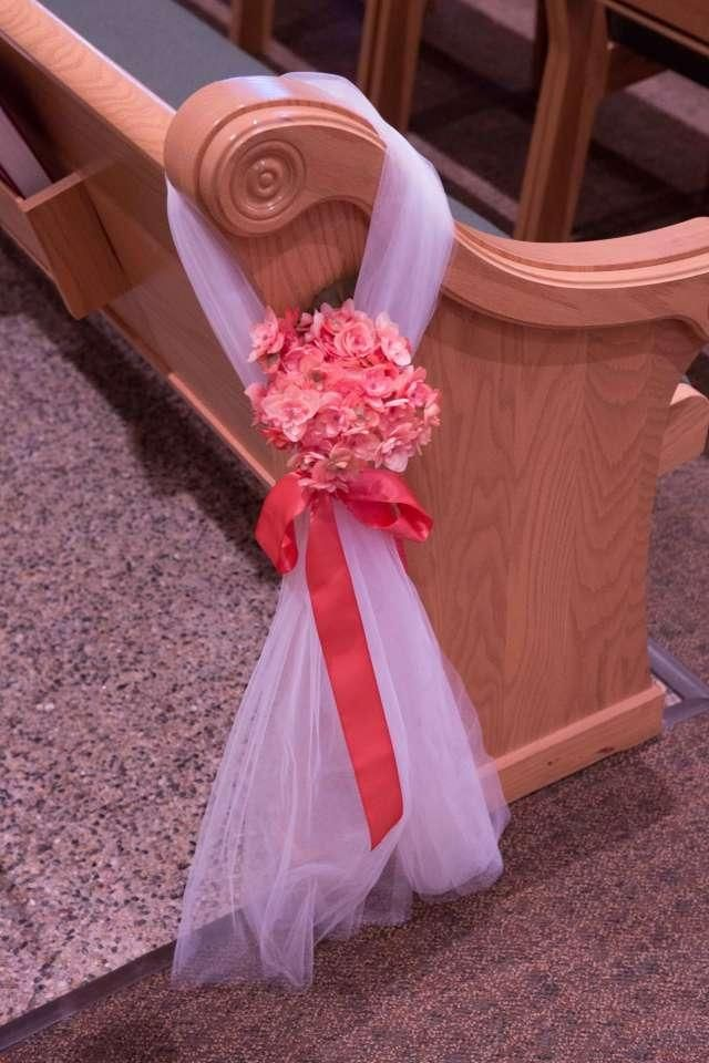 Coral Pew Bows Ceremony Decoration Pew Bows Church