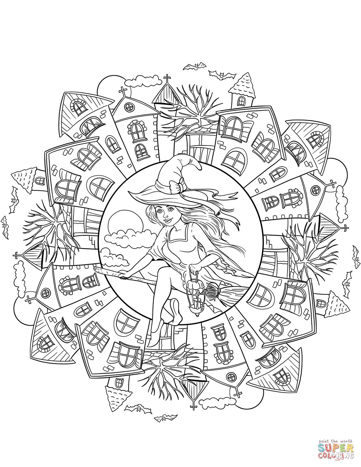 Halloween mandala with a witch in the village super coloring
