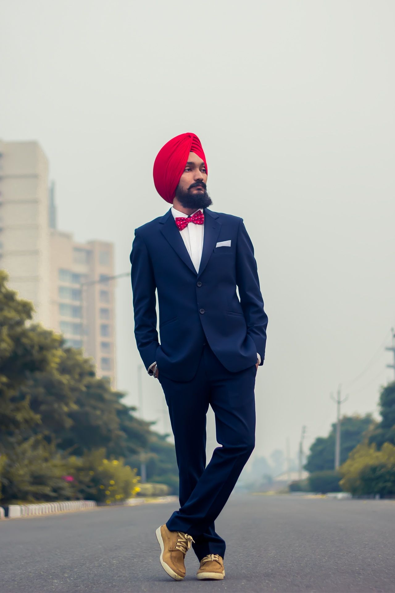 Art Sikh Fashion Color Red White Dark Blue Suit Bow Tie Turban