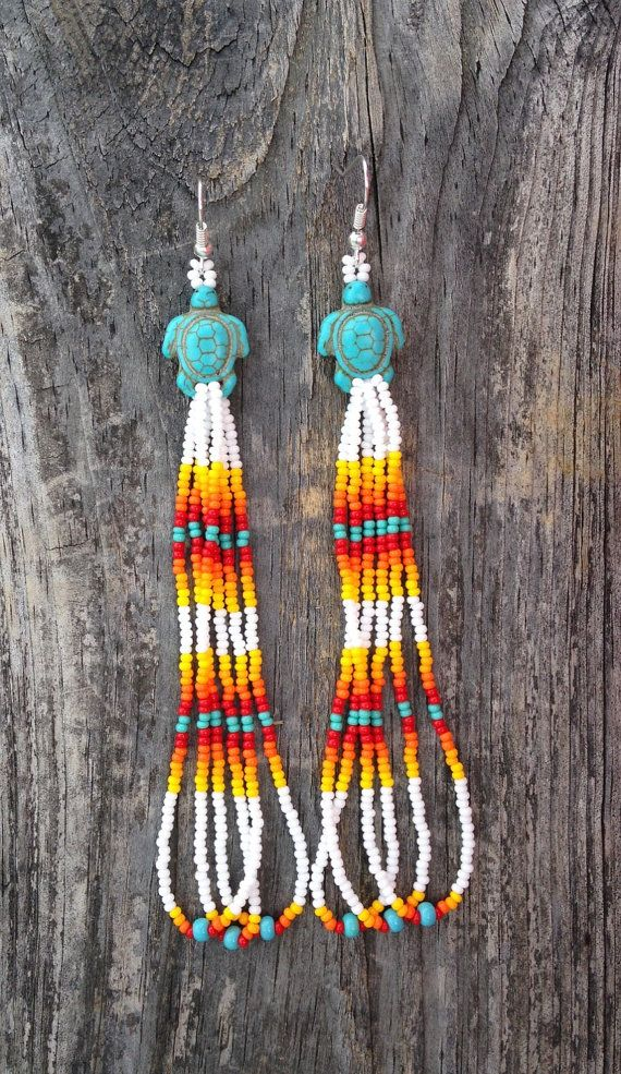 Native American Style 4 beaded turtle by prettyuniquedesigns2