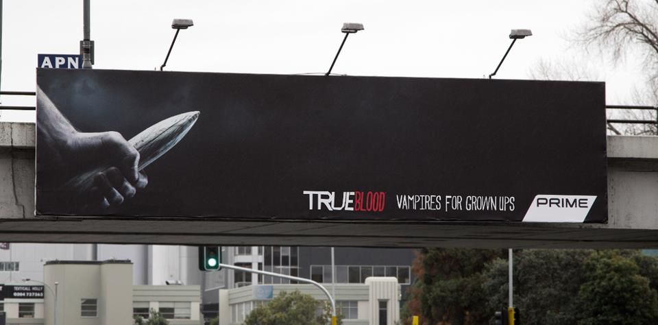 True Blood Billboard in NZ. Vampires for grown ups.