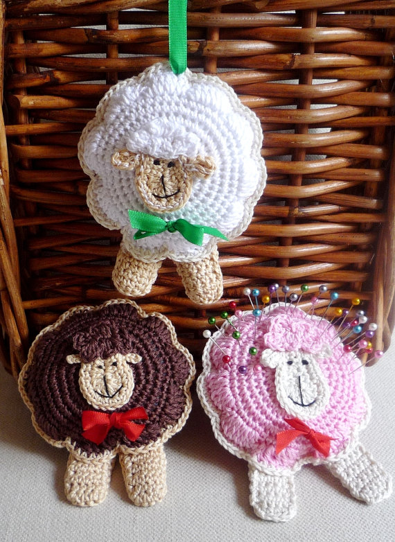 Crochet Sheep Ornament Pincushion Toy Pattern DIY by MonikaDesign ...