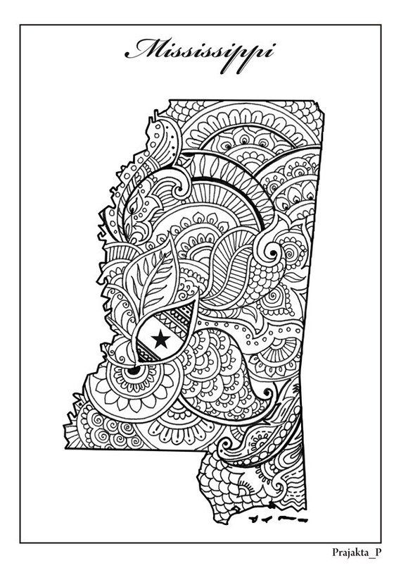 Mississippi State Map Adult Coloring Page Zentangle Usa States Map