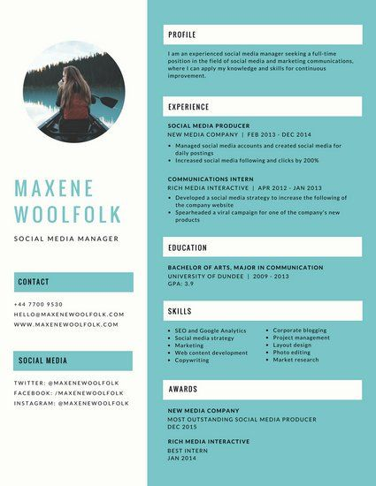 blue creative resume design pinterest template