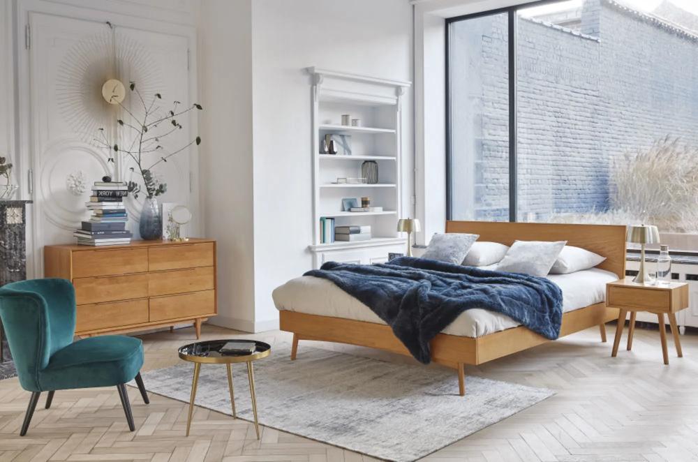 Copripiumino Matrimoniale Maison Du Monde.Solid Oak Vintage 160 X 200 Double Bed Maisons Du Monde Bedroom Interior Vintage Bed Oak Beds