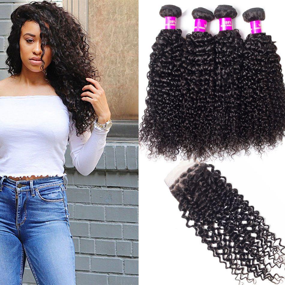 77fc42bcc Evan Hair Brazilian deep Wave Closure With 4 Bundles Human Virgin Hair  Weaves On Line For