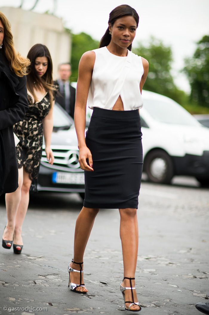 Naomie Harris elegant in a white cutout blouse and black pencil skirt #StreetStyle