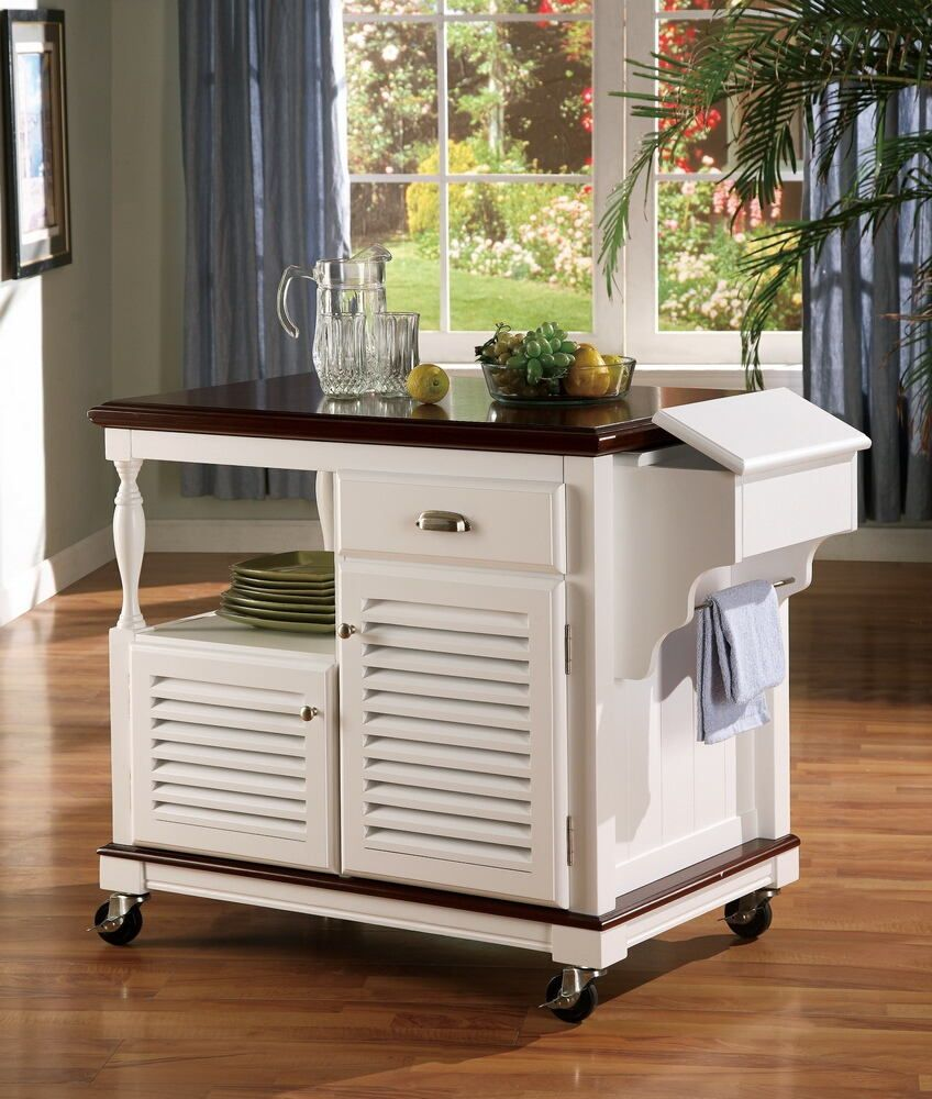 Chefs Helper White Finish Wood Kitchen Island Cart With Louvered Fair Kitchen Island On Casters Inspiration