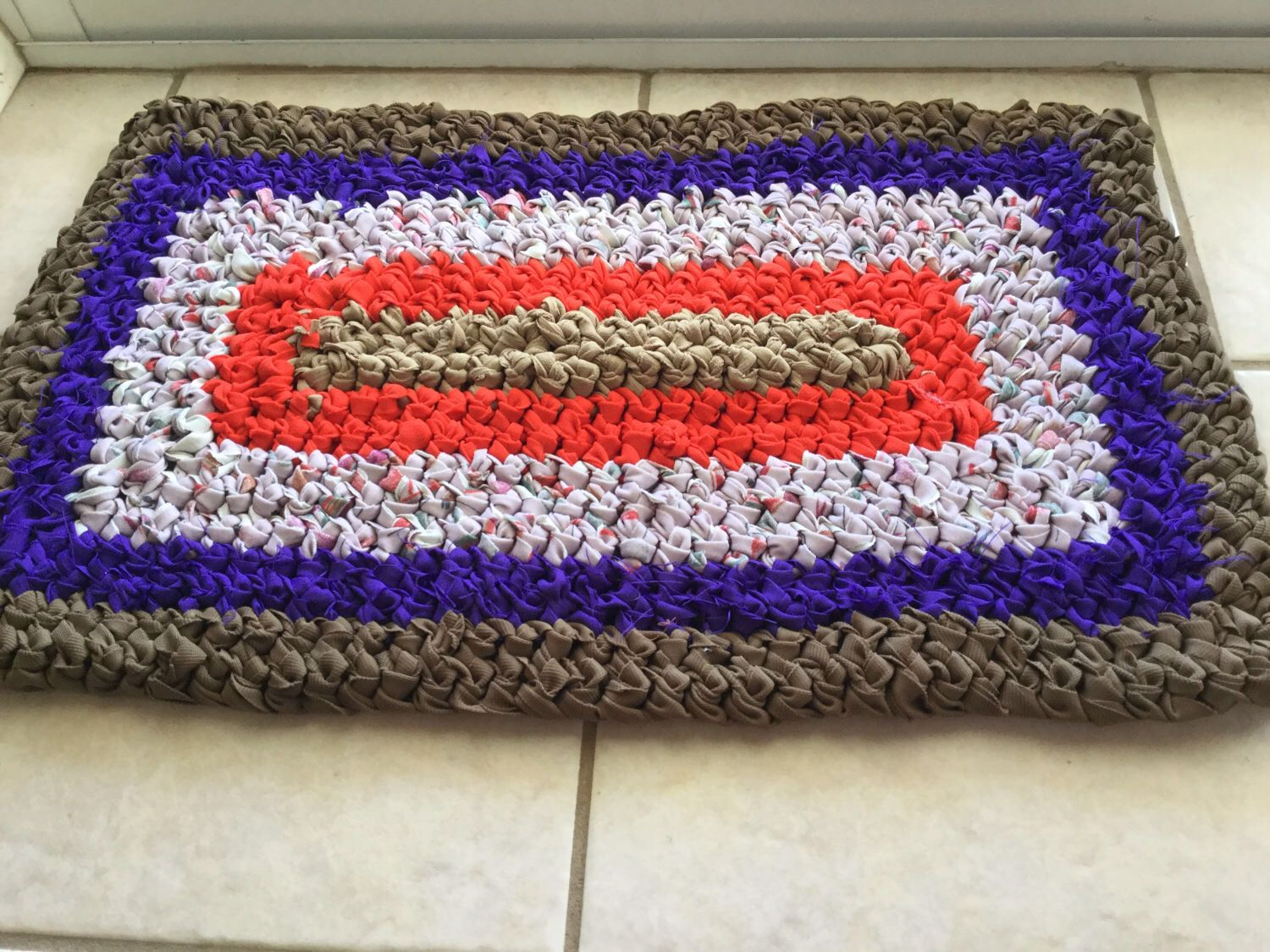 Brown Rectangle Throw Rug, Crochet Welcome Mat, Recycled Fabric Pet ...