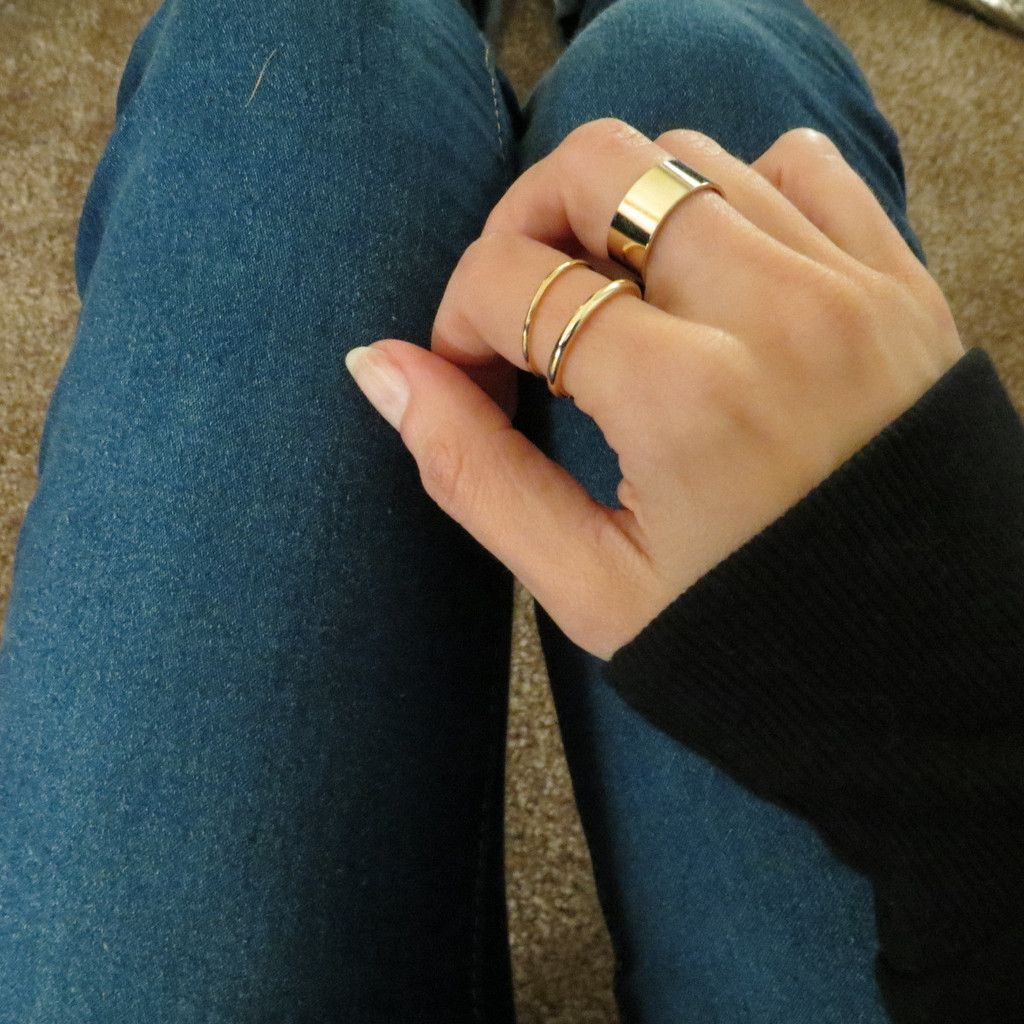 Thin And Thick Stacking Midi Rings  Set Of 3 Gold Or Silver