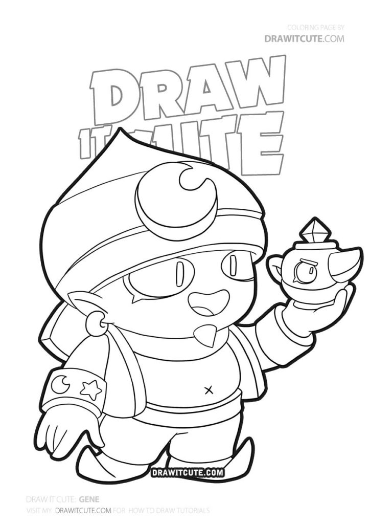 How To Draw Gene Brawl Stars Draw It Cute Fanart Brawlstarsfunny Brawlstars2019 Brawlstarsmeme Star Coloring Pages Drawing Tutorial Cute Coloring Pages