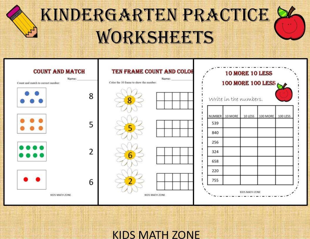Kindergarten Practice Worksheets 50 Printable Worksheets Kindergarten Worksheets Preschool Kindergarten Math Workbook Kindergarten Practice Math Workbook [ 816 x 1056 Pixel ]