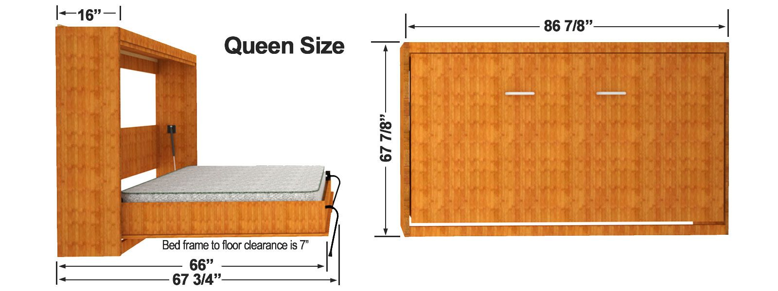 Horizontal Murphy Bed Finished Dimensions Horizontal Murphy Bed Murphy Bed Frame Murphy Bed Diy