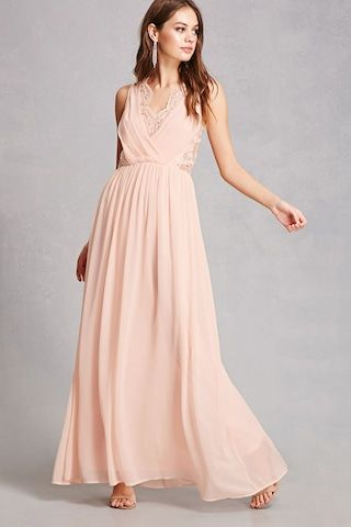This Flowing Maxi Dress By Soieblu Amp Trade Is Crafted In A Textured Crepe Fabric Complete With A Lace Trimmed Surpli Dresses Peach Dress Different Dresses