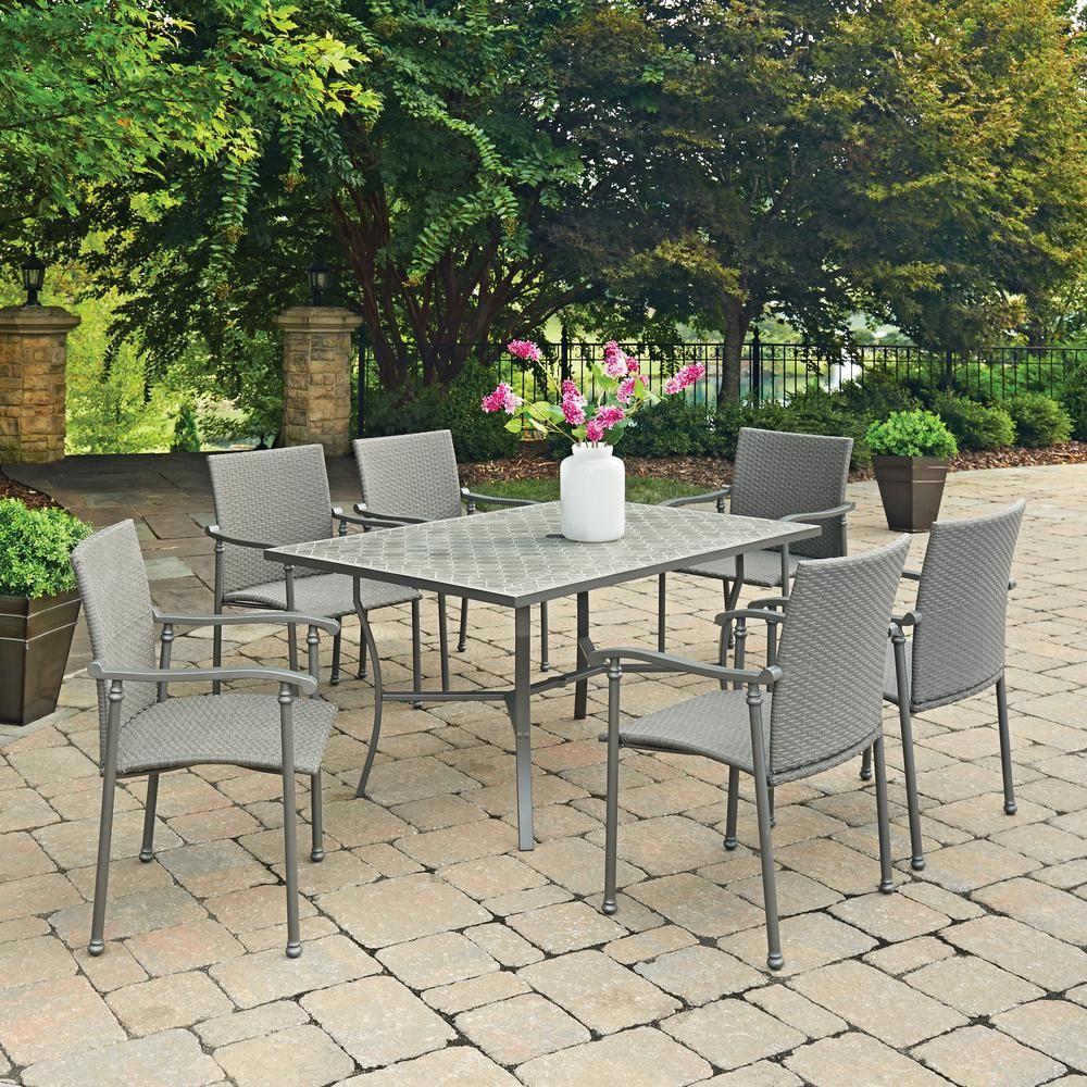 Homestyles Umbria 7 Piece Concrete Outdoor Dining Set Outdoor