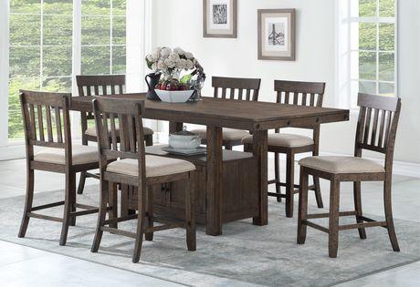 Brassex Inc Alexander 7 Piece Counter Set Dark Grey Dark Grey 7 Piece Dining Set Dining Dining Set