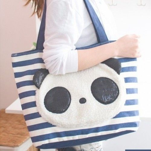 2a71e0415998 Super kawaii blue and cream striped canvas bag with plush panda face ...