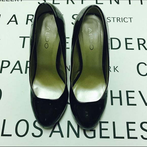 """Classic Edgy Black Patent Leather Pumps Classic Styled Aldo black patent leather pumps have an edgy height. only worn once or twice. Minor scuff on one heel height 4"""". Truly timeless! ALDO Shoes Heels"""