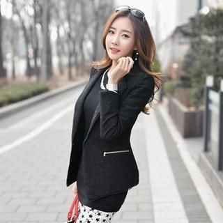 Buy 'Styleonme – Padded Shoulder Zipper Detail Jacket' with Free International Shipping at YesStyle.com. Browse and shop for thousands of Asian fashion items from South Korea and more!
