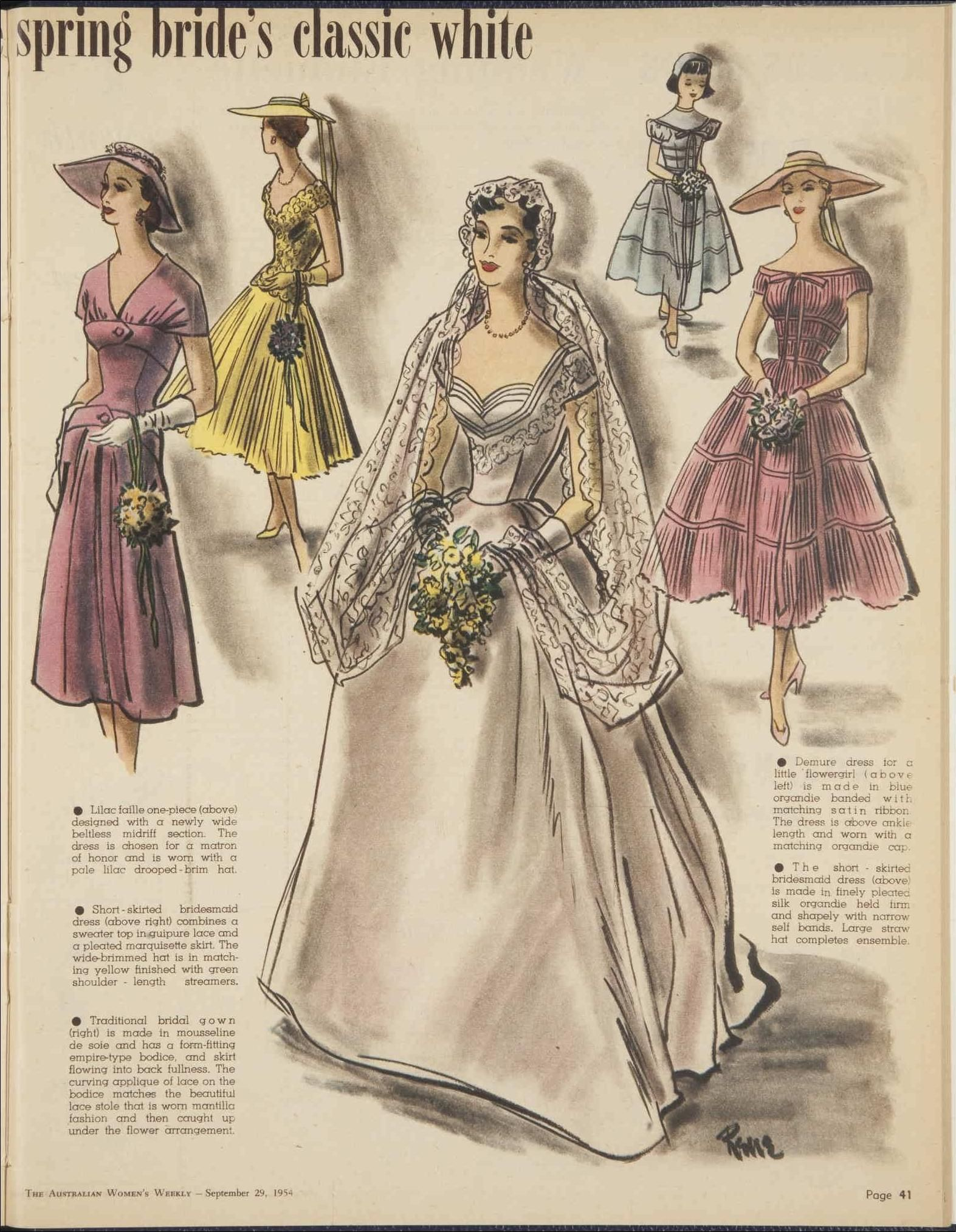 8158c77a3ab87 1950s vintage bride wedding dress Issue  29 Sep 1954 - The Australian  Women s Wee.
