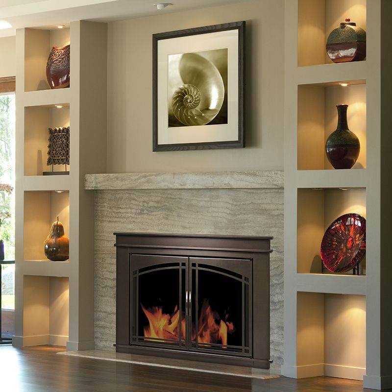 Pleasant Hearth Fenwick Glass Firescreen Oil Rubbed Bronze With Images Fireplace Design Fireplace Bookshelves Fireplace Doors