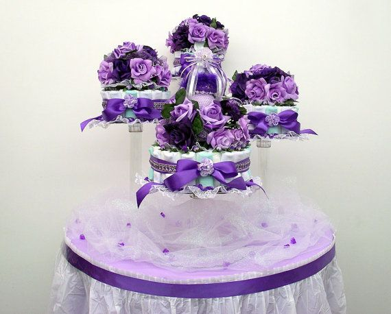 Purple auqa green and lavender baby shower diaper cake
