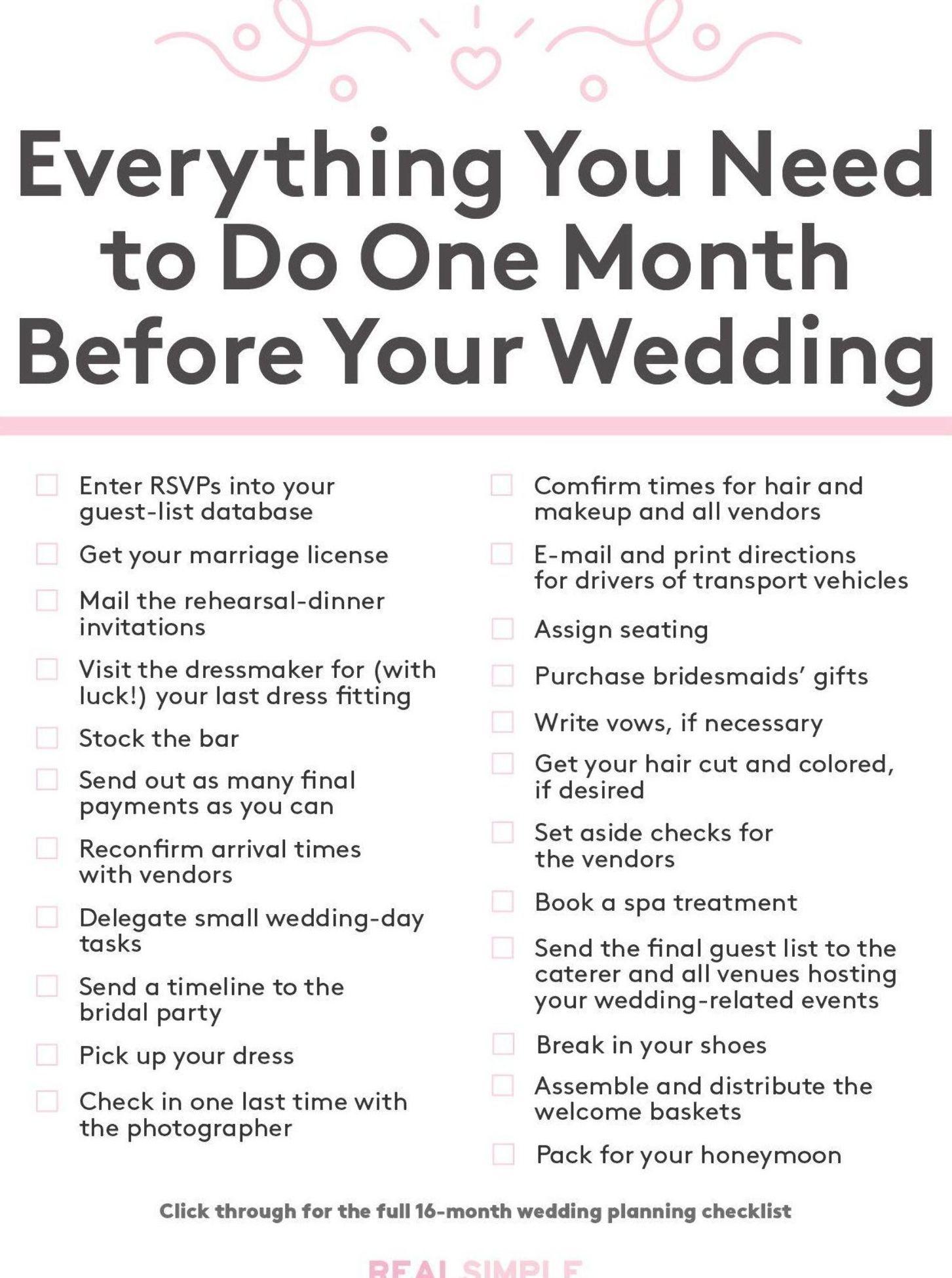 Ultimate Wedding Planning Checklist Everything You Need To Do One Month Ultimate Wedding Planning Checklist Wedding Planner Binder Wedding Planning Checklist