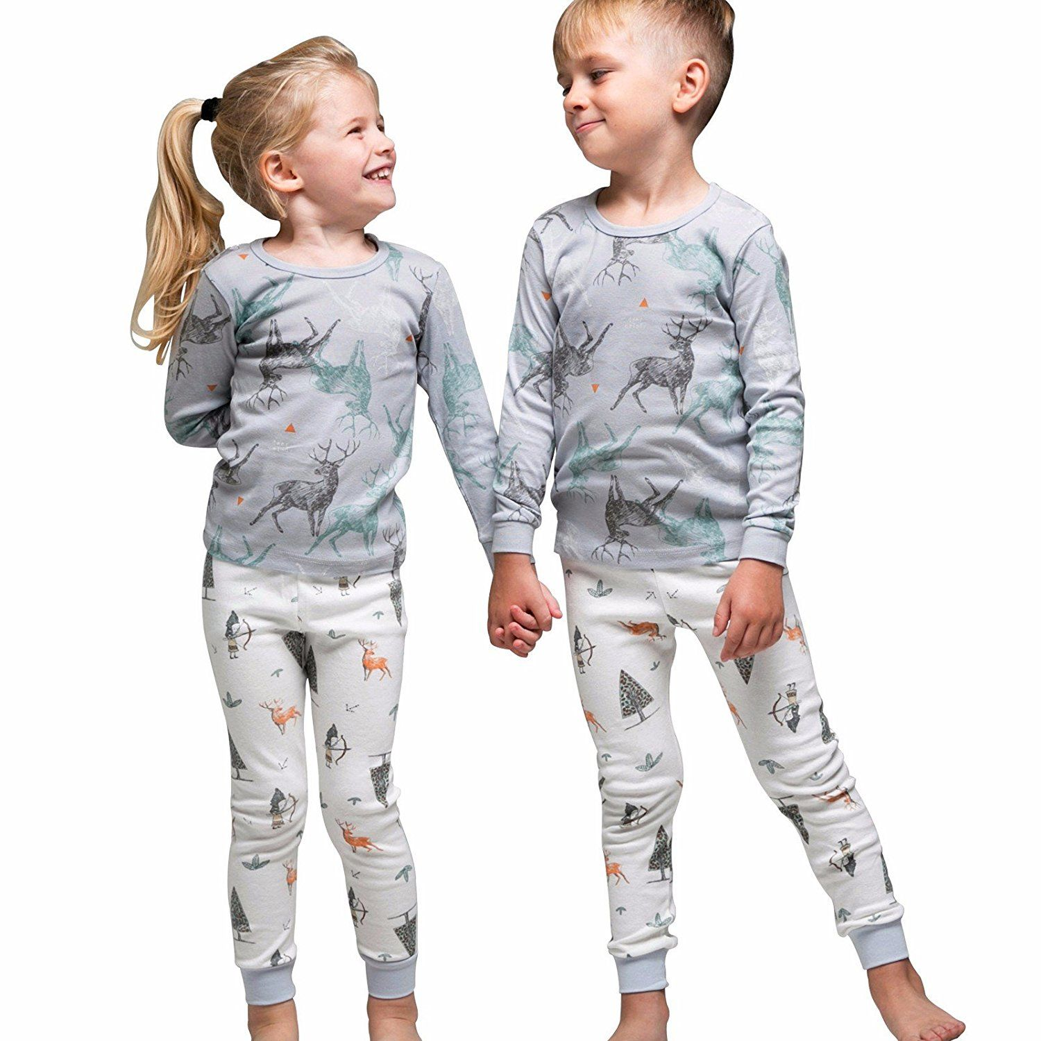Tory bam Cotton Thermal Underwear Pajamas Set for Kids Little Boys