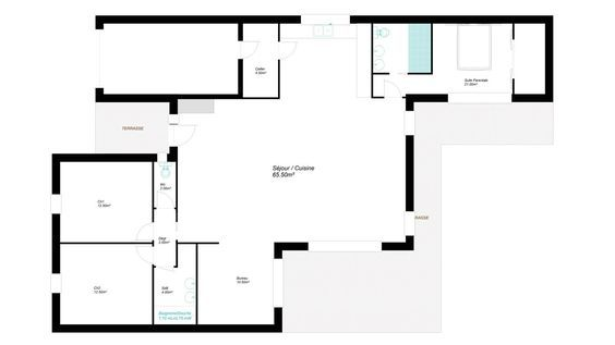 Modèles et plans de maisons \u003e Modèle de plain-pied Soft - plans de maison gratuit plain pied