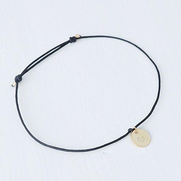 Oh Bracelet Berlin – pulsera de nylon con placa de corazón en relieve, plata de ley 925 reciclada | Aguacate