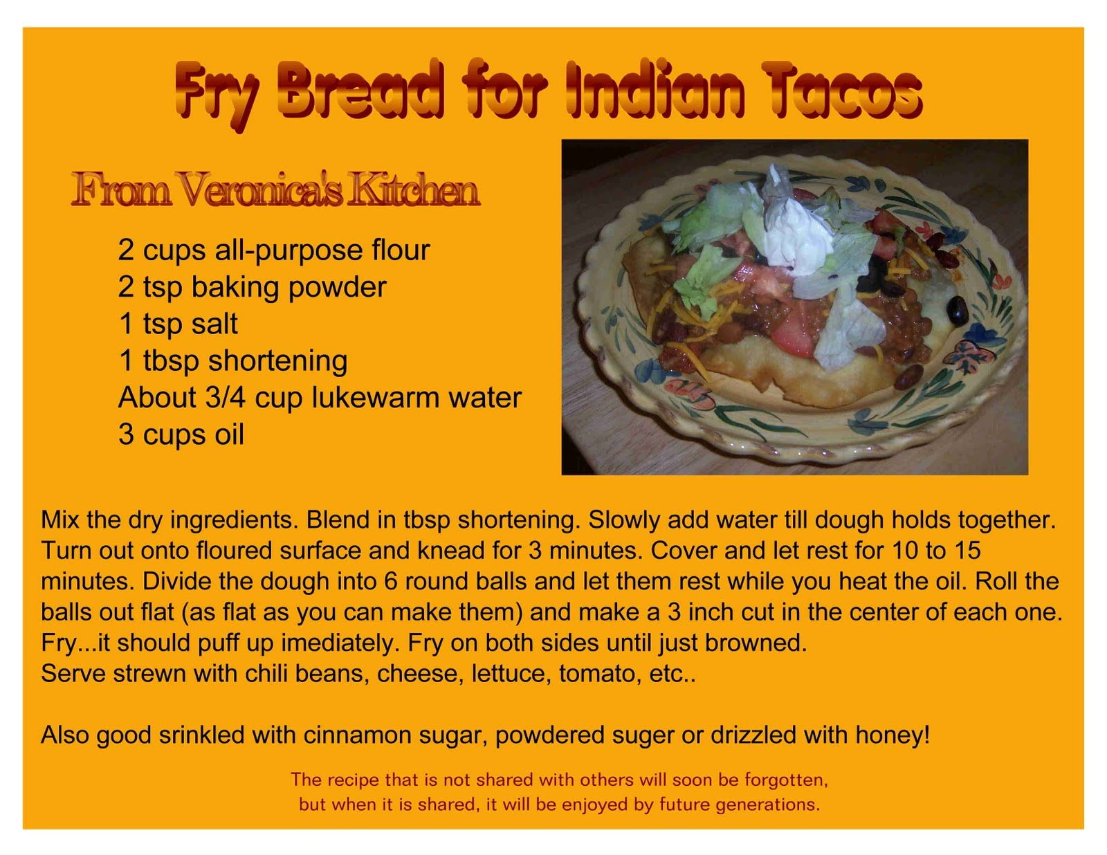 Indian Tacos Fry Bread Recipe Recipes Pinterest